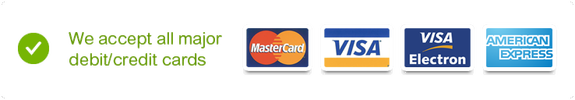 We accept all major debit and credit cards